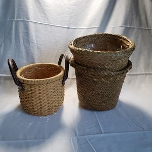 Vintage Accents - Wicker Woven Plant Baskets Boho Nuetrals